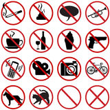Vector icons set - 16 flat prohibition signs Stock Photos