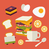 Vector icons set with fresh breakfast food and Stock Images