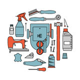 Vector icons set of furrier`s tools. Stock Image