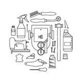 Vector icons set of furrier`s tools Royalty Free Stock Photography