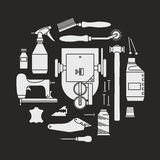 Vector icons set of furrier`s tools Stock Images