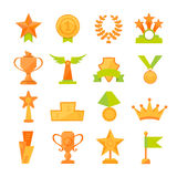 Vector icons set of golden sport award cups in modern flat style. Vector icons set of golden sport award cups in flat style Stock Photography