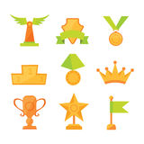 Vector icons set of golden sport award cups in modern flat style. Vector icons set of golden sport award cups in modern flat Royalty Free Stock Photo