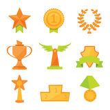 Vector icons set of golden sport award cups in modern flat style. Vector icons set of golden sport award cups in modern flat Royalty Free Stock Image