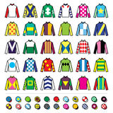 Vector icons set - horse racing jockey uniform designs isolated on white Stock Images