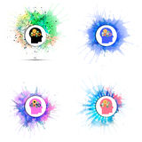 Vector icons set of human head with gears Stock Photos