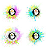 Vector icons set of human head with gears. Concept of human thinking. Colorful design with stains and blots vector illustration