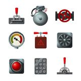 Vector icons set with industrial design elements. Analog interface object isolated on white. Levers, switches, buttons. Analog interface object isolated on white stock illustration