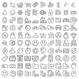 100 vector icons set. 100 line vector icons set for web design and user interface Royalty Free Stock Photo