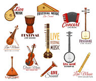 Vector icons set for live music festival concert Royalty Free Stock Image