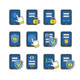 Vector icons set of mobile security. Stock Photos