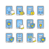 Vector icons set of mobile security. Smartphone security concept. Stock Image