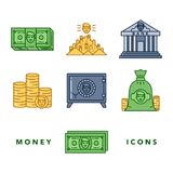 Money and financial institutions topic. Vector icons set of money and finance attributes such as banknotes, coins, strongbox and bank on white background with Stock Photography