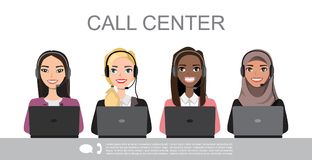Vector icons set multiracial female call center avatars in a cartoon style with a headset, conceptual of communication.  stock illustration