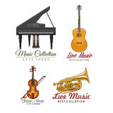 Vector icons set for music concert labels Stock Image
