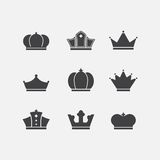 Vector Icons Set Of Different Black Crowns Shapes Stock Photo