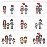 Vector icons set people and family Royalty Free Stock Images