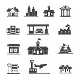 Vector icons set of places. Stock Image