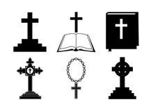 Vector icons set for religion cross. On white background stock illustration