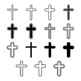 Vector icons set for religion cross. On white background Stock Photos
