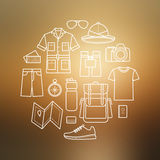 Vector icons set of safari planning on blurred background Royalty Free Stock Image