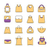 Vector icons set of shopping bags Royalty Free Stock Photo