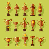 Vector icons set of silver sport award cups. Stock Photos