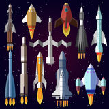 Vector icons set of space rockets. Stock Photos