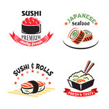 Vector icons set for sushi or seafood restaurant. Sushi bar and Japanese seafood restaurant icons. Vector  symbols of sushi rolls with shrimp, tempura roll and Royalty Free Stock Photo