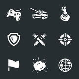 Vector Icons Set of Tank Video Games. Stock Photo