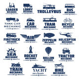 Vector icons set for transport mechanics. Transport mechanics icons set. Vector isolated symbols of passenger and industrial rail or air vehicles and machinery stock illustration