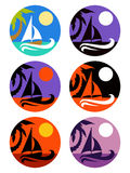 Vector icons set of tropical marine landscape Stock Photo