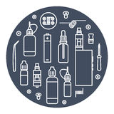 Vector icons set of vaporizer Royalty Free Stock Images
