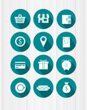Vector icons. A set of vector icons with various symbols for locations for businesses and shops Royalty Free Stock Photo
