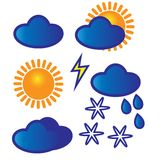 Vector icons set: weather. Vector set for your design: weather, clouds, sun, rain and snow Royalty Free Stock Image