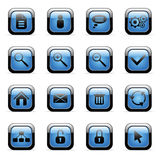 Vector icons set for web applications. Vector blue glossy icons set for web applications (set3 Royalty Free Stock Photography