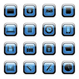 Vector icons set for web applications. Vector blue glossy icons set for web applications (set4 Stock Photo