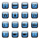 Vector icons set for web applications. Vector blue glossy icons set for web applications (set6 Royalty Free Stock Photo