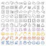 100 vector icons set. For web and user interface also special halloween set included Stock Images