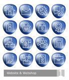 Vector icons set for website and web shop; blue 3D buttons Royalty Free Stock Image