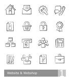 Vector icons set for website and web shop; charcoal drawings Royalty Free Stock Photography