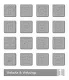 Vector icons set for website and web shop; metal buttons Royalty Free Stock Photo