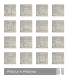 Vector icons set for website and web shop; vintage wood buttons Royalty Free Stock Image
