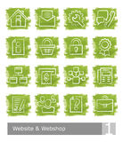 Vector icons set for website and web shop; watercolour buttons Royalty Free Stock Photography