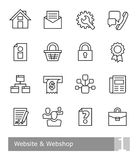 Vector icons set for website and webshop; black bold outlines Royalty Free Stock Image