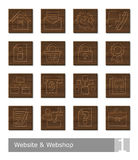 Vector icons set for website and webshop; woodcut buttons Stock Images