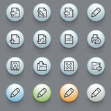 Document web icons on gray background. Royalty Free Stock Image