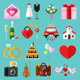 Vector icons set of wedding Royalty Free Stock Image
