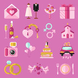 Vector icons set of wedding Royalty Free Stock Images