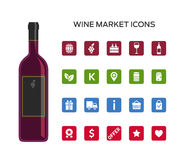 Vector icons set for wine market Royalty Free Stock Image